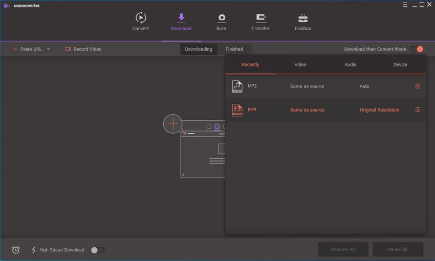 Wondershare UniConverter streaming media downloader