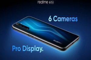 Realme 6 Pro de color azul encendido con la pantalla hacia abajo
