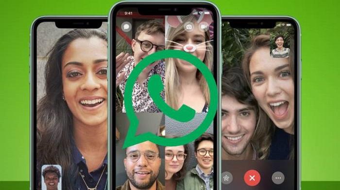 Teléfonos mostrando videollamadas múltiples en WhatsApp