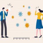 Personas distantes y representación del coronavirus en medio de ellos