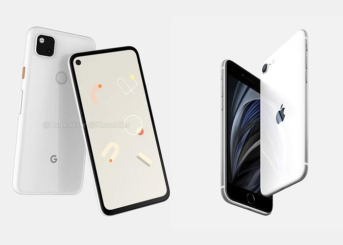 IPhone SE 2020 de Apple de distintos tamaños y color blanco