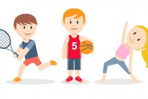 Caricatura de niños haciendo ejercicios