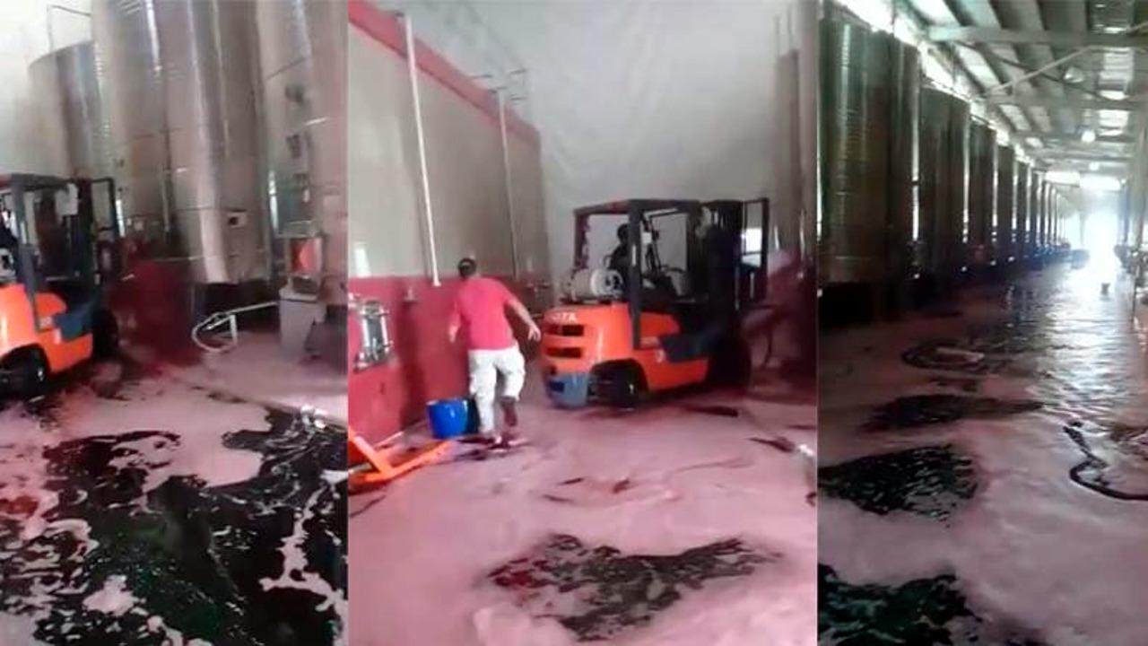 Imagen de derrame de vino tinto ocurrido en Argentina en 2017