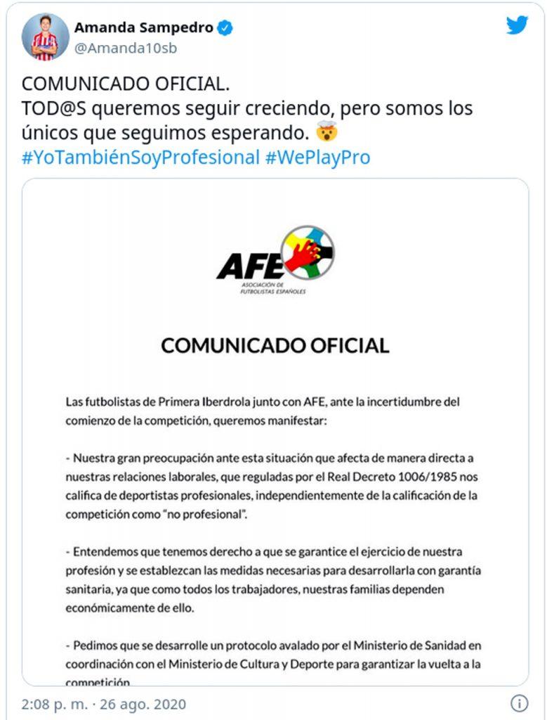 Futbolistas españolas activan la etiqueta #YoTambienSoyProfesional